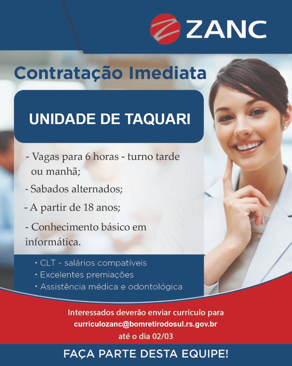 Zanc oferece 80 vagas de trabalho para moradores de Bom Retiro do Sul