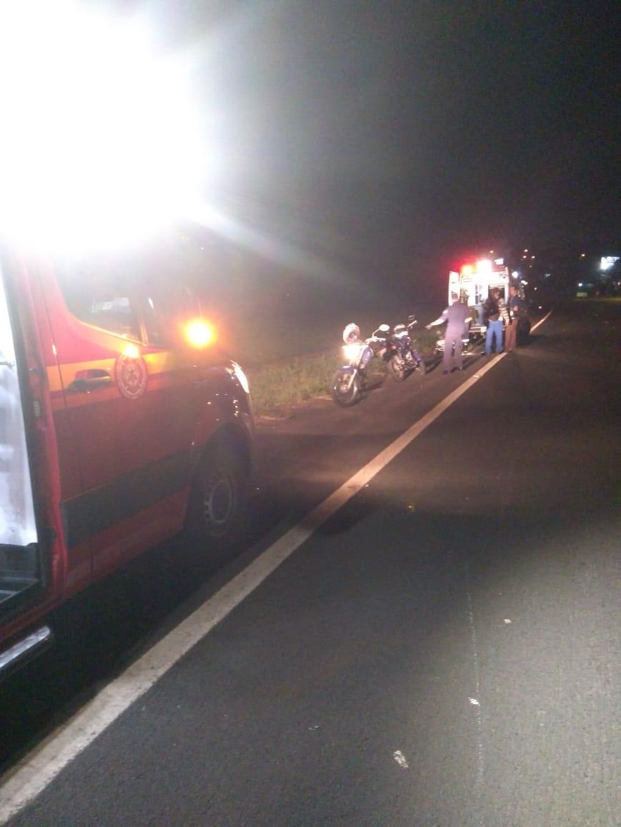 Acidente envolvendo duas motos deixa ferido